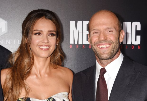 Jessica Alba and Jason Statham at the premiere of Summit Entertainment's Mechanic: Resurrection at ArcLight Hollywood